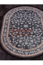 Бамбуковый ковер Muskat 9046 Черный-голубой овал