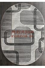 Российский ковер Mega carving 465 Серый овал